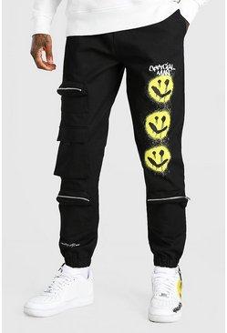 Black Twill Multi Pocket Drip Face Cargo Trouser