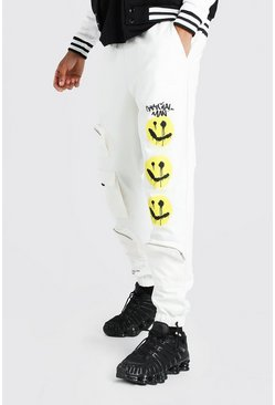 Stone Twill Multi Pocket Cargo Pants With Smiley Print