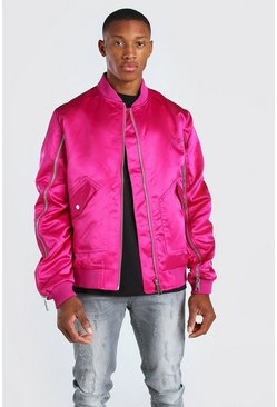 Rose pink Zip Detail Bomber Jacket With Man Embroidery