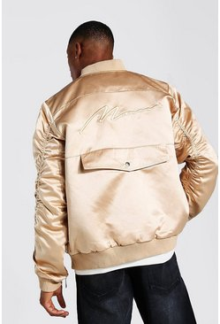 Bronze Zip Detail Bomber Jacket With Man Embroidery