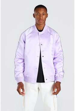 Lilac Satin Bomber Jacket With Chest Man Embroidery