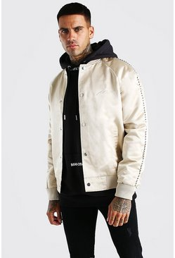 Stone Satin Bomber Jacket With Chest Man Embroidery