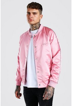 Pink Satin Bomber Jacket With Chest Man Embroidery