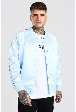 Light blue Satin Bomber Jacket With Chest Man Embroidery
