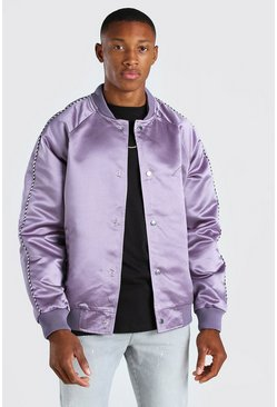 Mauve Satin Bomber Jacket With Chest Man Embroidery