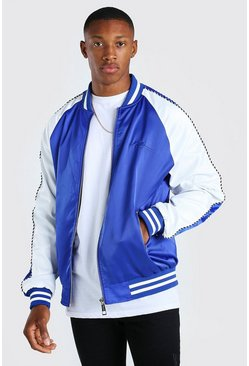Cobalt Satin Raglan Bomber With Piping and Man Embroidery