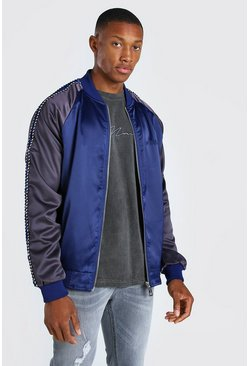 Navy Satin Raglan Bomber With Piping And Embroidery