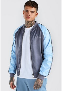 Grey Satin Raglan Bomber With Piping and Man Embroidery