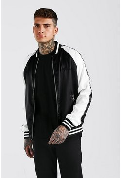Black Satin Raglan Bomber With Piping and Man Embroidery