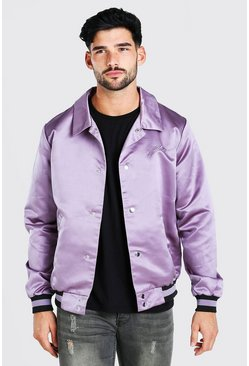 Mauve Satin Coach Jacket With Chest Man Embroidery