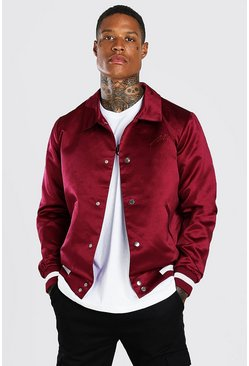 Burgundy Satin Coach Jacket With Chest Man Embroidery