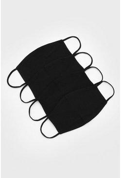 Black 4 pack plain fashion masks