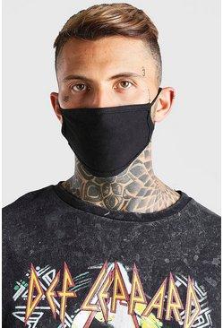 Black 5 pack plain fashion masks