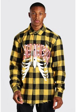 Yellow Championship Skeleton print Check Shirt