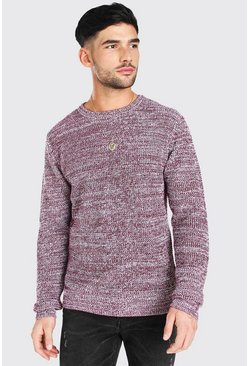 Burgundy Regular Fit Crew Neck Fisherman Knitted Jumper