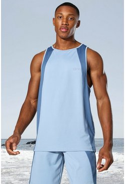 Dusty blue Man Active Tonal Colour Block Racer Tank