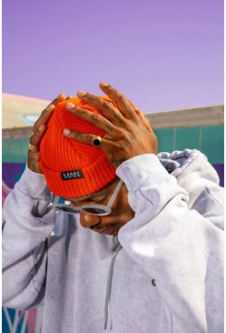 Orange MAN Tab Skater Beanie