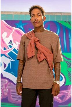 Brown Heavyweight Boxy Fit Overdyed Marl T-Shirt