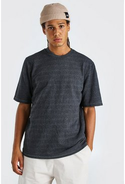 Black Heavyweight Boxy Fit Overdyed Marl T-Shirt