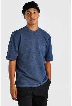 Navy Heavyweight Boxy Fit Overdyed Marl T-Shirt