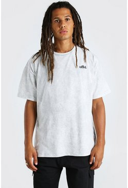 Light grey Oversized Embroidered Acid Wash T-Shirt