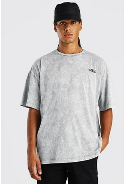 Charcoal Oversized Embroidered Acid Wash T-Shirt