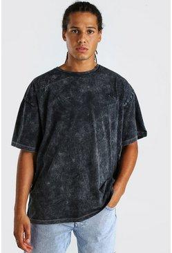 Black Oversized Embroidered Acid Wash T-Shirt
