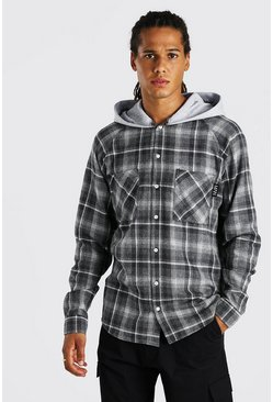 Charcoal Heavy Weight Plaid Jersey Hooded Shirt Jacket