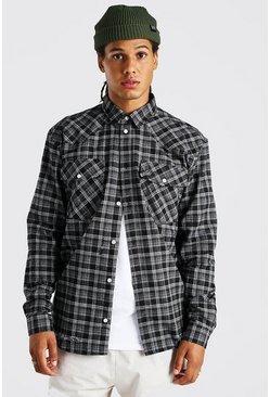 Charcoal Oversized Destroyed Hem Western Flannel Shirt
