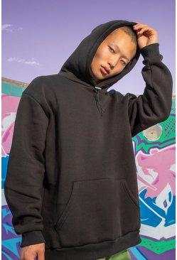 Black Oversized Hoodie With Bunjee Cord