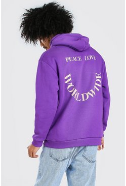 Purple Oversized Hoodie With Front And Back Print