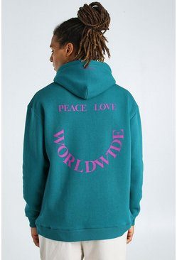 Teal Oversized Hoodie With Front And Back Print