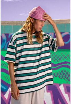 Green Official Yarn Dyed Oversized Stripe T-Shirt