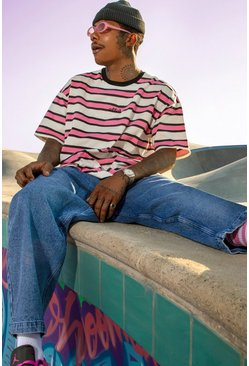 Pink Official Yarn Dyed Oversized Stripe T-Shirt