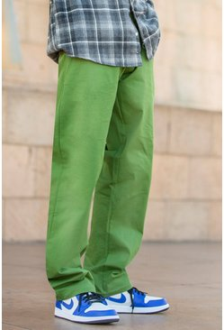 Green Skate Fit Cargo Trouser With Waist Detail