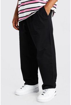 Black Skate Fit Cropped Chino With Elasticated Waistband