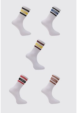 Multi Official Sport Stripe 5 Pack Socks