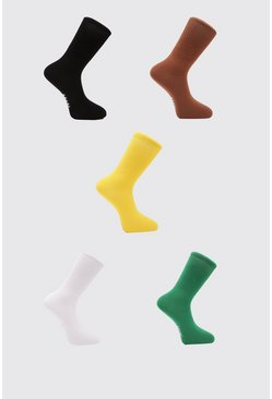 Multi MAN Plain Skate 5 Pack Socks