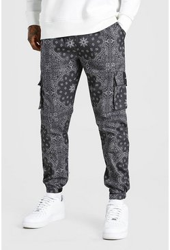 Black Official MAN Twill Belted Bandana Cargo Trouser