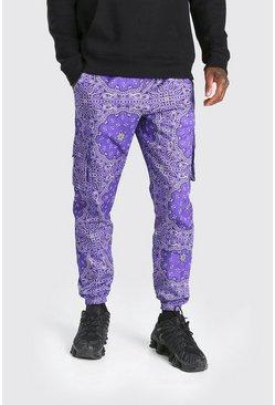 Purple Official MAN Twill Belted Bandana Cargo Trouser