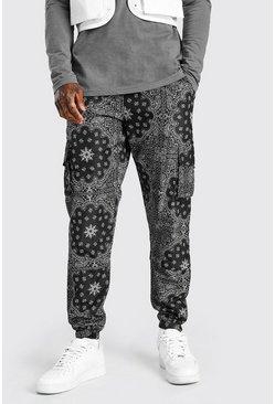 Black Nylon Bandana Printed Cargo Trouser