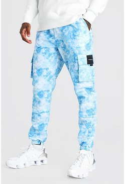 Blue Shell Tie Dye Printed Cargo Trouser