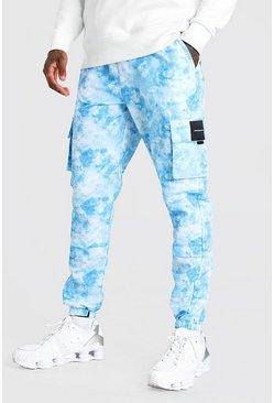 Blue Nylon Tie Dye Printed Cargo Trouser