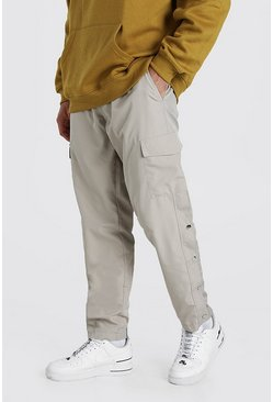 Champagne Shell Cargo Trouser With Side Poppers