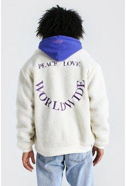 Ecru MAN Skate Embroidered Borg Collard Jacket