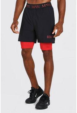 Black MAN Active X Beast 2 In 1 Waistband Shorts