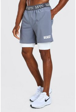 Charcoal MAN Active X Beast 2 In 1 Waistband Shorts