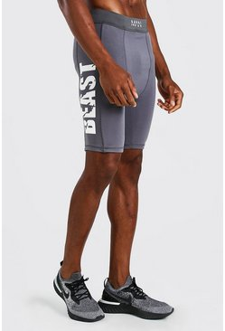 Charcoal MAN Active X Beast Compression Print Shorts