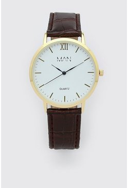 Montre classique inscription MAN, Marron