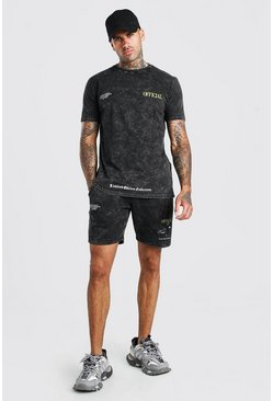 Charcoal Acid Wash Eagle Back Print T-Shirt & Short Set